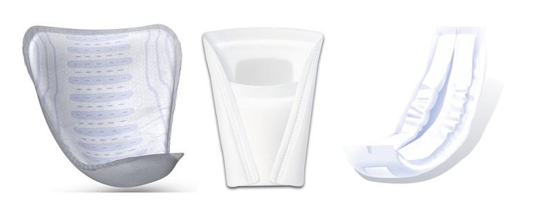 Формы мужских прокладок: V-образная, «Кармашек», Прямоугольная