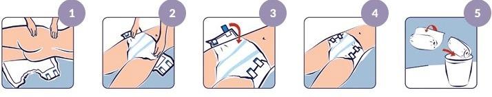 Как надеть закрытый памперс на лежачего