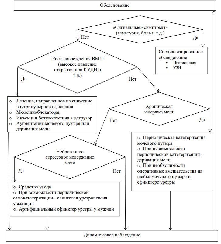 Итоговая схема обследования и лечения пациентов с нейрогенным мочевым пузырем