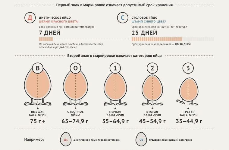 Категории яиц и сроки их хранения